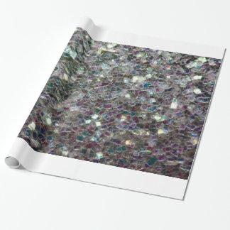 Papier Cadeau Mosaïque argentée colorée scintillante