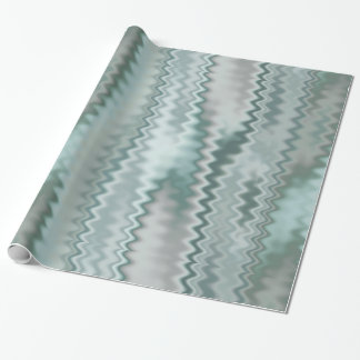 Papier Cadeau Motif aléatoire de fractale de zigzag d'Aqua