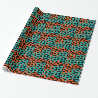 Papier Cadeau Motif audacieux turquoise noir orange géométrique