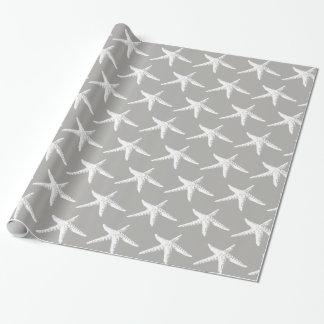Papier Cadeau Motif blanc côtier d'étoiles de mer