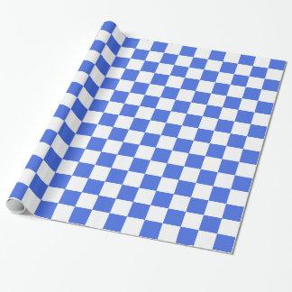 Papier Cadeau Motif blanc de damier de bleu royal