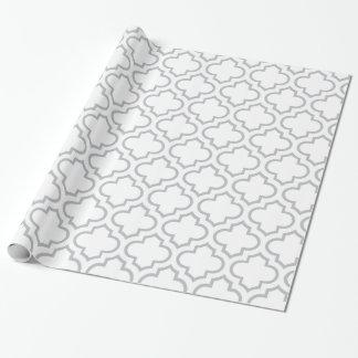Papier Cadeau Motif blanc et gris de trellis