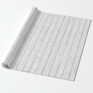Papier Cadeau Motif blanc minable en bois rustique de panneaux