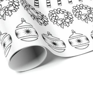 Papier Cadeau Motif blanc/noir simple de police de Noël de