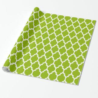 Papier Cadeau Motif blanc vert pomme #4 de Quatrefoil de