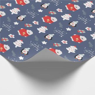 Papier Cadeau Motif bleu de Joyeux Noël d'amusement