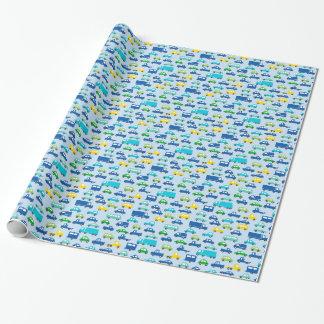 Papier Cadeau motif bleu de voiture de jouet - illustration