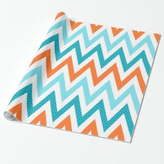 Papier Cadeau Motif bleu de zigzag d'Aqua orange moderne de
