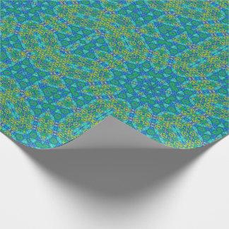 Papier Cadeau Motif bleu et vert de kaléidoscope