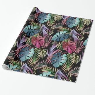 Papier Cadeau Motif botanique de feuillage tropical coloré