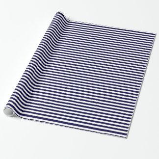Papier Cadeau Motif classique de rayure de bleu marine et de