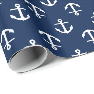 Papier Cadeau Motif d'ancres de bleu marine