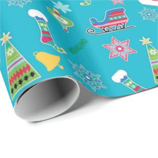 Papier Cadeau Motif de collage de Noël sur le bleu