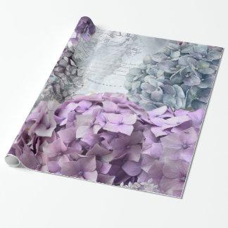 Papier Cadeau Motif de fleur floral vintage d'hortensia de gris