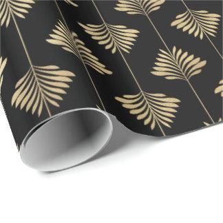 Papier Cadeau Motif de frondes de fougère de paume d'or d'art