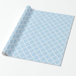 Papier Cadeau Motif de lt Blue White Large Fancy Quatrefoil