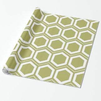 Papier Cadeau Motif de nid d'abeilles de vert olive et de blanc
