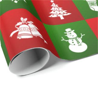 Papier Cadeau Motif de nouvelle année. Rouge, vert, blanc. 2018.
