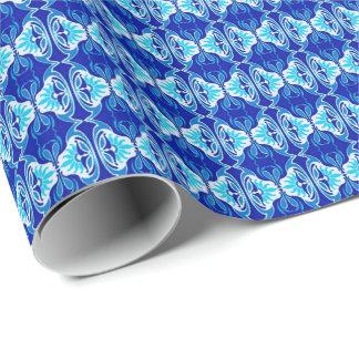 Papier Cadeau Motif de papier peint d'art déco - bleu et blanc