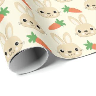 Papier Cadeau Motif de Pâques de lapin et de carotte