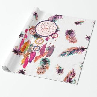 Papier Cadeau Motif de plumes de Dreamcatcher d'aquarelle de