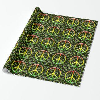 Papier Cadeau Motif de signe de paix de Rasta
