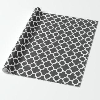 Papier Cadeau Motif de treillis de Quatrefoil de gris de charbon