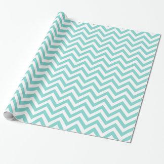 Papier Cadeau Motif de zigzag blanc de Chevron d'Aqua de