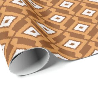 Papier Cadeau Motif d'Ikat de Navajo - Brown, rouille et crème