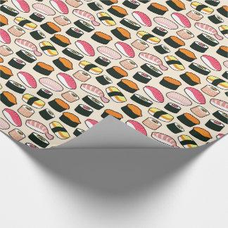 Papier Cadeau Motif d'illustrations d'amusement de sushi