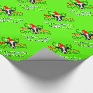Papier Cadeau Motif drôle de vache à Père Noël de Noël de Cowy