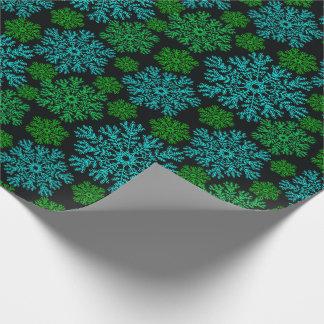 Papier Cadeau Motif élégant d'hiver de flocons de neige