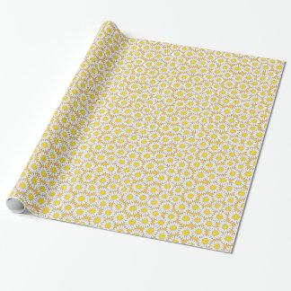 Papier Cadeau Motif estival de sourire de marguerites blanches