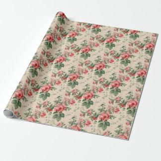 Papier Cadeau Motif floral vintage mou de rose rouge