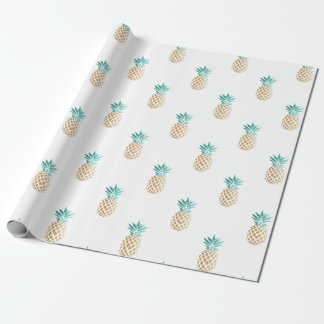 Papier Cadeau motif frais tropical d'ananas d'or de faux d'été