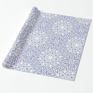 Papier Cadeau Motif géométrique moderne d'étoile bleue de Noël