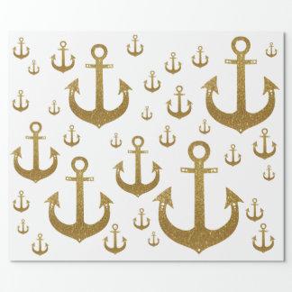 Papier Cadeau motif girly des ancres d'or nautiques