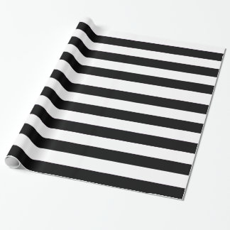 Papier Cadeau Motif horizontal noir et blanc solide de rayures