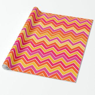 Papier Cadeau Motif jaune rose quotidien de zigzag de Chevron