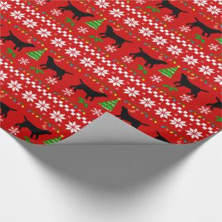 Papier Cadeau Motif laid noir de Noël de Labrador