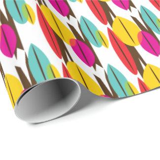 Papier Cadeau Motif multicolore abstrait de feuille rétro