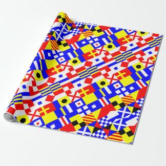 Papier Cadeau Motif nautique de drapeaux