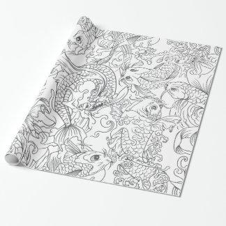 Papier Cadeau Motif noir et blanc de poissons de Koi de Japonais