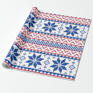 Papier Cadeau Motif nordique de Noël de flocons de neige