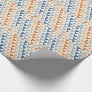 Papier Cadeau Motif orange et blanc bleu contrastant de triangle