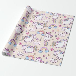 Papier Cadeau Motif potelé d'arc-en-ciel de licornes de vol de