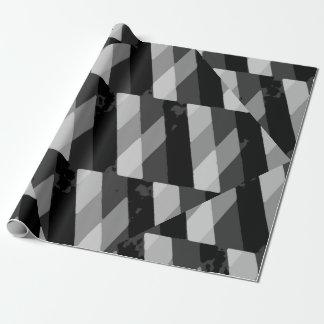Papier Cadeau Motif rayé grunge noir et blanc