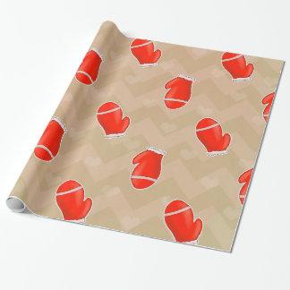 Papier Cadeau Motif rouge de Chevron de gants de Noël de