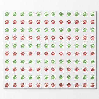 Papier Cadeau Motif rouge et vert de Noël d'animal familier
