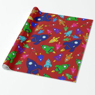 Papier Cadeau Motif rouge mignon de bateaux de fusée